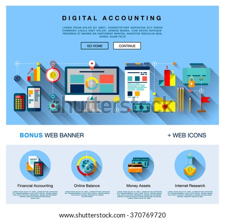 Page Web Design Flat Template Bright Stock Vector 370769720