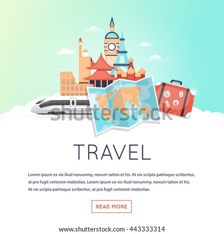 Page web design template World Travel, summer vacation, tourism and journey, traveling set of icons. Vintage suitcase with stickers. Flat design vector illustration. - stock vector