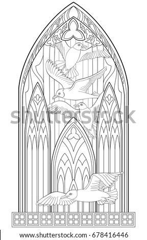 page black white drawing beautiful medieval stock vector 678416446 shutterstock. Black Bedroom Furniture Sets. Home Design Ideas