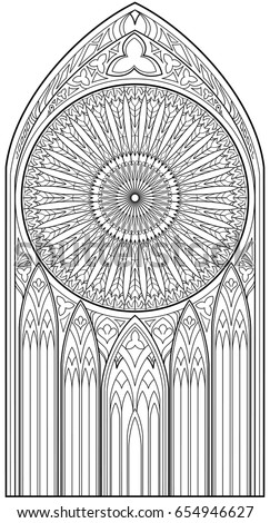 Page black white drawing beautiful medieval stock vector royalty page with black and white drawing of beautiful medieval gothic window with stained glass and rose thecheapjerseys Gallery