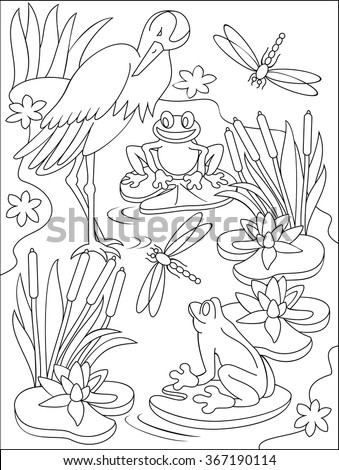 page with black and white illustration of swamp for coloring developing children skills for drawing