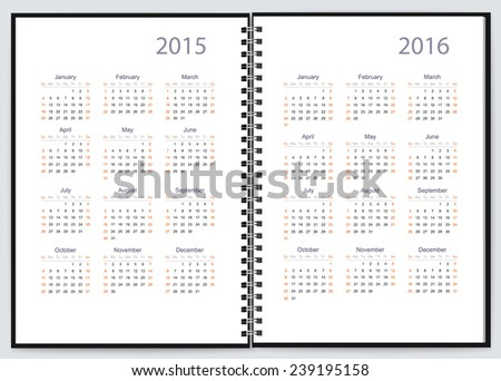 Pages of a notebook with 2015, 2016 year calendars. Vector - stock vector