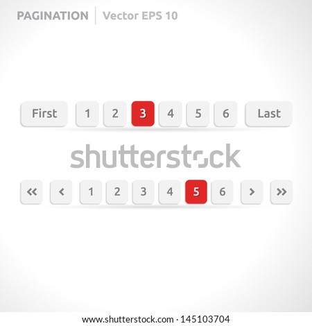 Pagination bars | color red and white | abstract vector design | website element | paper silver look - stock vector