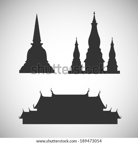 Pagoda and temple silhouette - Illustration - stock vector