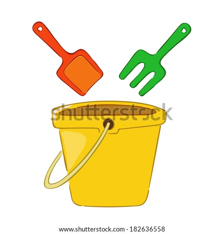 Pail shovel and a bucket beach toys, vector illustration