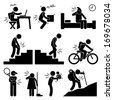 Pain in Human Body Parts on Various Poses and Positions Stick Figure Pictogram Icon - stock