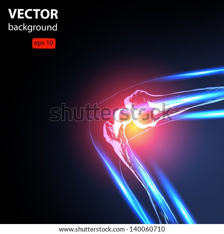 Painful Knee Close-up vector, easy all editable - stock vector
