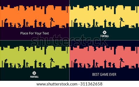 Paint ball game players posters with logo and color backgrounds