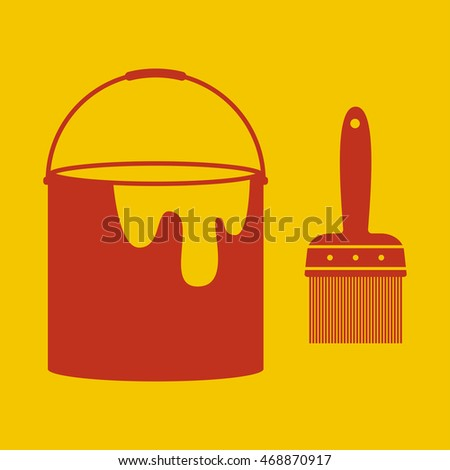 Paint Brush and Bucket Icon