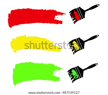 Paint brush and paint roller and paint banners. Vector illustration.