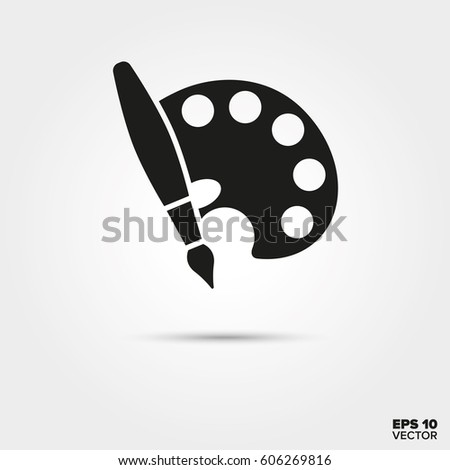 paint brush palette icon art symbol stock vector 606269816