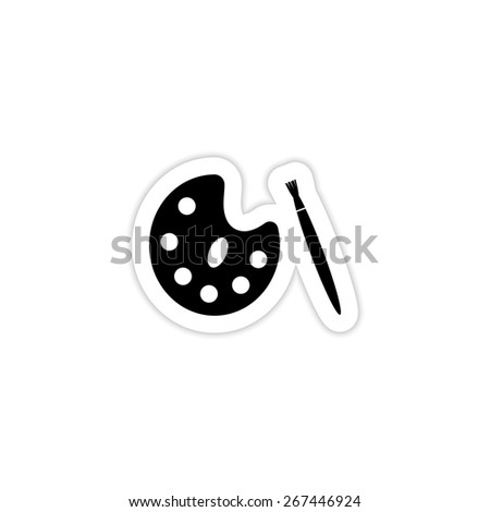 paint brush and wooden palette on a white background with shadow  - stock vector