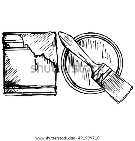 Paint brush, bank of paint. Isolated on white background. Vector, doodle style
