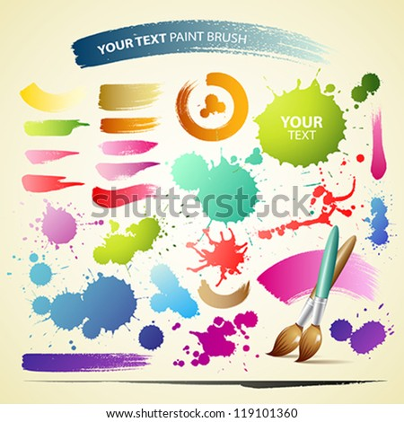 Paint brush colorful watercolor collections background, vector illustration - stock vector