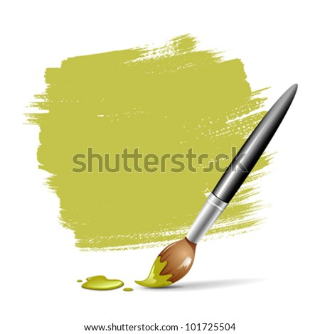 Paint brush. green space your text, vector illustration - stock vector