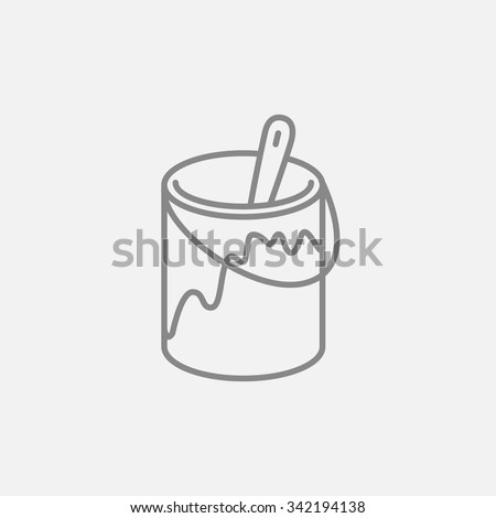 Paint brush in the paint thin line icon for web, mobile and infographics. Vector dark grey icon isolated on light grey background. - stock vector