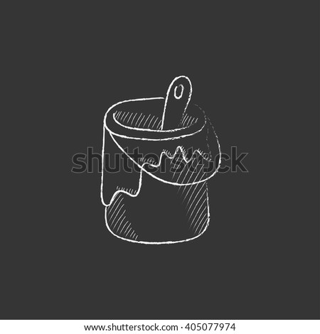 Paint brush in the paint tin. Drawn in chalk icon. - stock vector