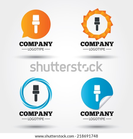 Paint brush sign icon. Artist symbol. Business abstract circle logos. Icon in speech bubble, wreath. Vector - stock vector