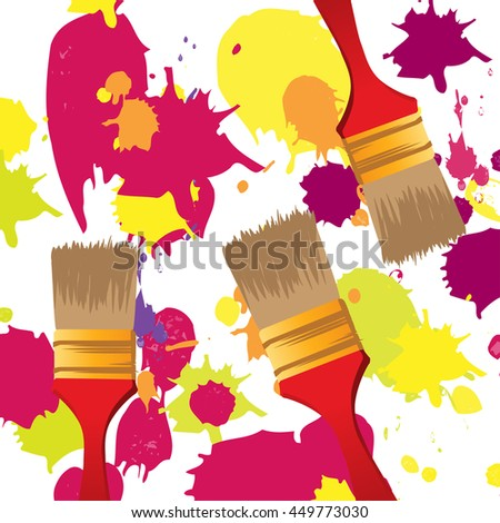 Paint brush tool with paint splash background - stock vector