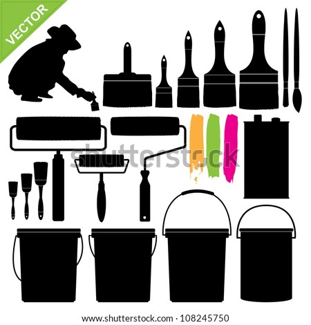Paint bucket and brush silhouette vector - stock vector