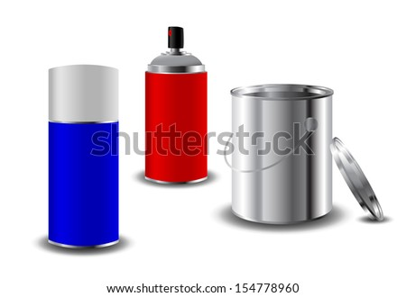 Paint can and sprays eps10 - stock vector