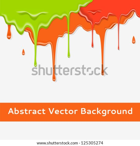Paint colorful dripping background in three color option. Vector illustration for your bright design. Realistic streams of paint. Abstract wallpaper. - stock vector