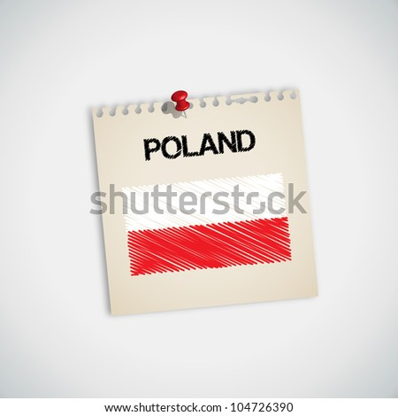 Paint Flag of Poland Note Paper Vector - stock vector