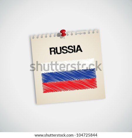 Paint Flag of Russia Note Paper Vector - stock vector