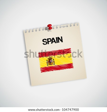 Paint Flag of Spain Note Paper Vector - stock vector