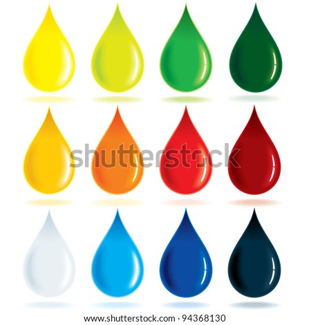 Paint Ink Drops, vector illustration - stock vector