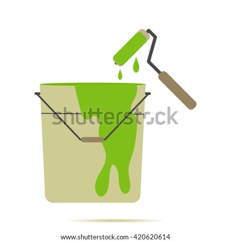 Paint Pail Colored Vector Illustration on the white background with shadow,Paint Pail Colored vector,Paint Pail Colored  Illustration. - stock vector