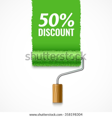 Paint roller and green streak of paint with inscription Fifty Percent Discount - stock vector