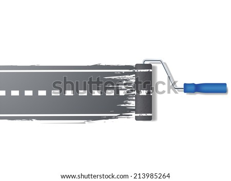 paint roller draws the road - stock vector