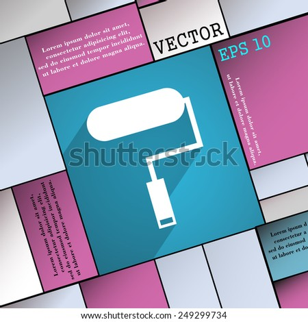 Paint roller icon symbol Flat modern web design with long shadow and space for your text. Vector illustration - stock vector