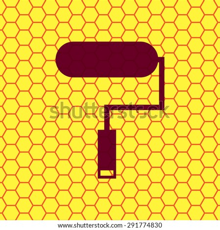 Paint roller icon symbol on a yellow background abstract similar to a honeycomb. Vector illustration - stock vector