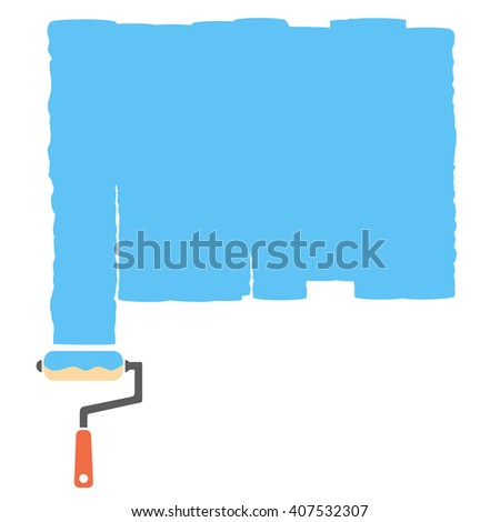 Paint roller on blue background, vector illustration
