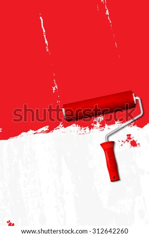 Paint roller - painting the walls red. Vector illustration. - stock vector