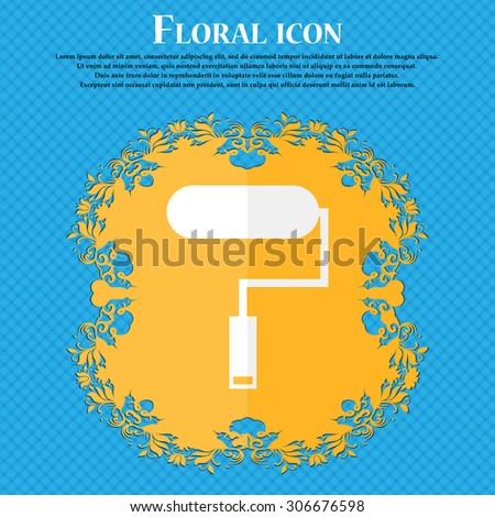 Paint roller sign icon. Painting tool symbol. Floral flat design on a blue abstract background with place for your text. Vector illustration - stock vector