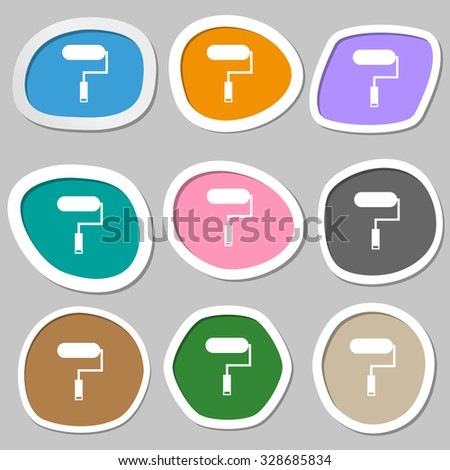 Paint roller sign icon. Painting tool symbol. Multicolored paper stickers. Vector illustration - stock vector