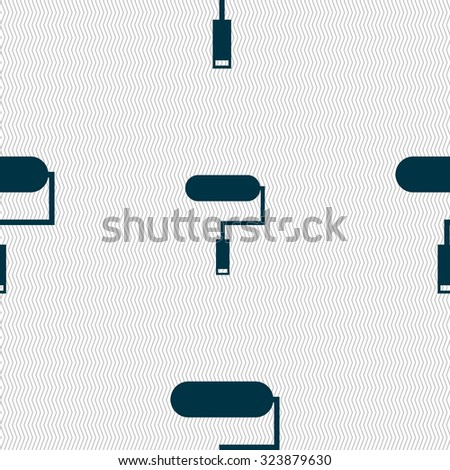 Paint roller sign icon. Painting tool symbol. Seamless abstract background with geometric shapes. Vector illustration - stock vector
