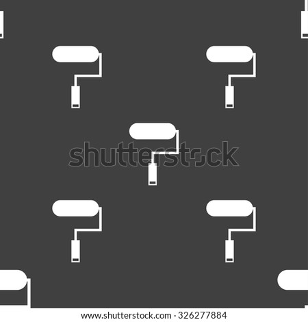 Paint roller sign icon. Painting tool symbol. Seamless pattern on a gray background. Vector illustration - stock vector