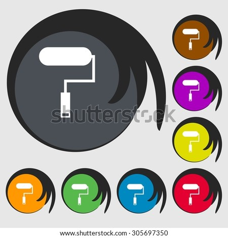 Paint roller sign icon. Painting tool symbol. Symbols on eight colored buttons. Vector illustration - stock vector
