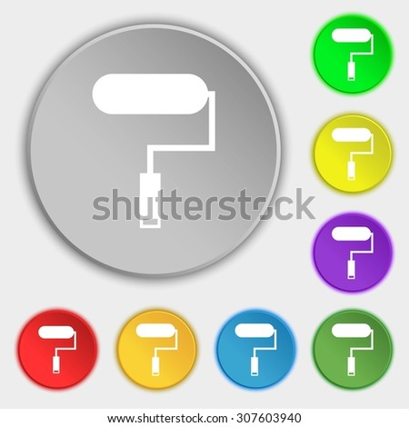 Paint roller sign icon. Painting tool symbol. Symbols on eight flat buttons. Vector illustration - stock vector