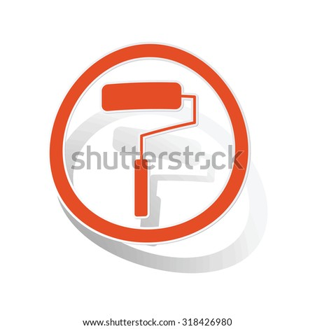 Paint roller sign sticker, orange circle with image inside, on white background - stock vector