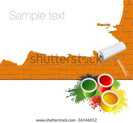Paint roller. Vector template. - stock vector