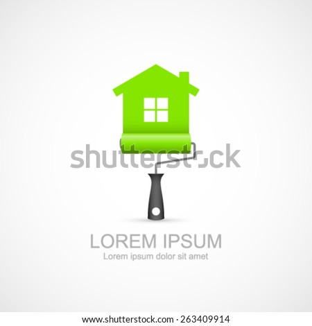Paint roller with green house symbol icon. Painting services icon. Easy to change color. - stock vector