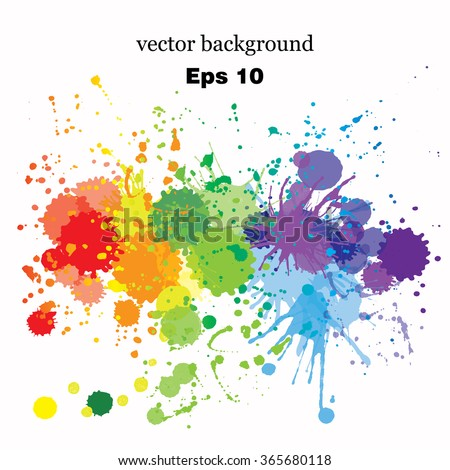 Paint splashes splatters abstract colorful vector background. Multicolored rainbow - stock vector