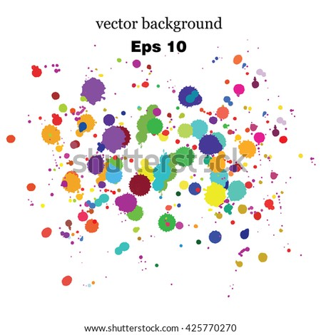 Paint splashes splatters abstract colorful vector background. Multicolored rainbow