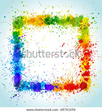 Paint splashes square background. Color vector frame. - stock vector