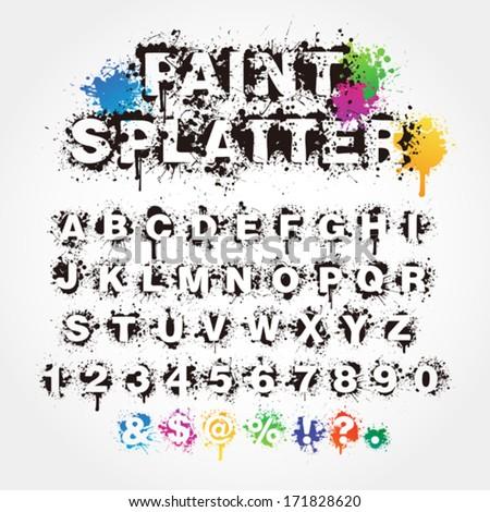 Paint splatter alphabet - stock vector